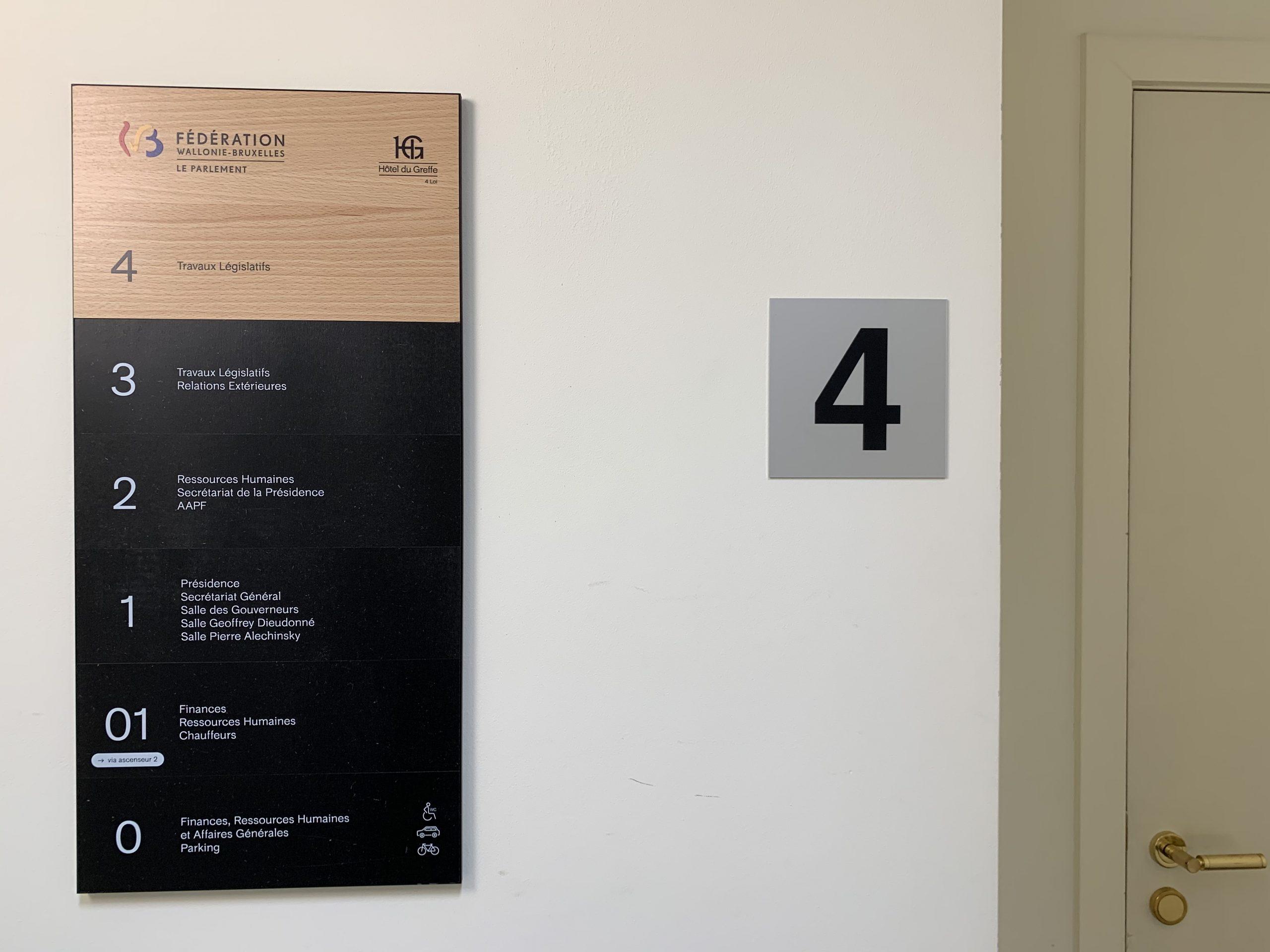 Wayfinding – deurnaamborden met wegwijzers om overzicht te creëren in het gebouw by actual sign member of the remotec group