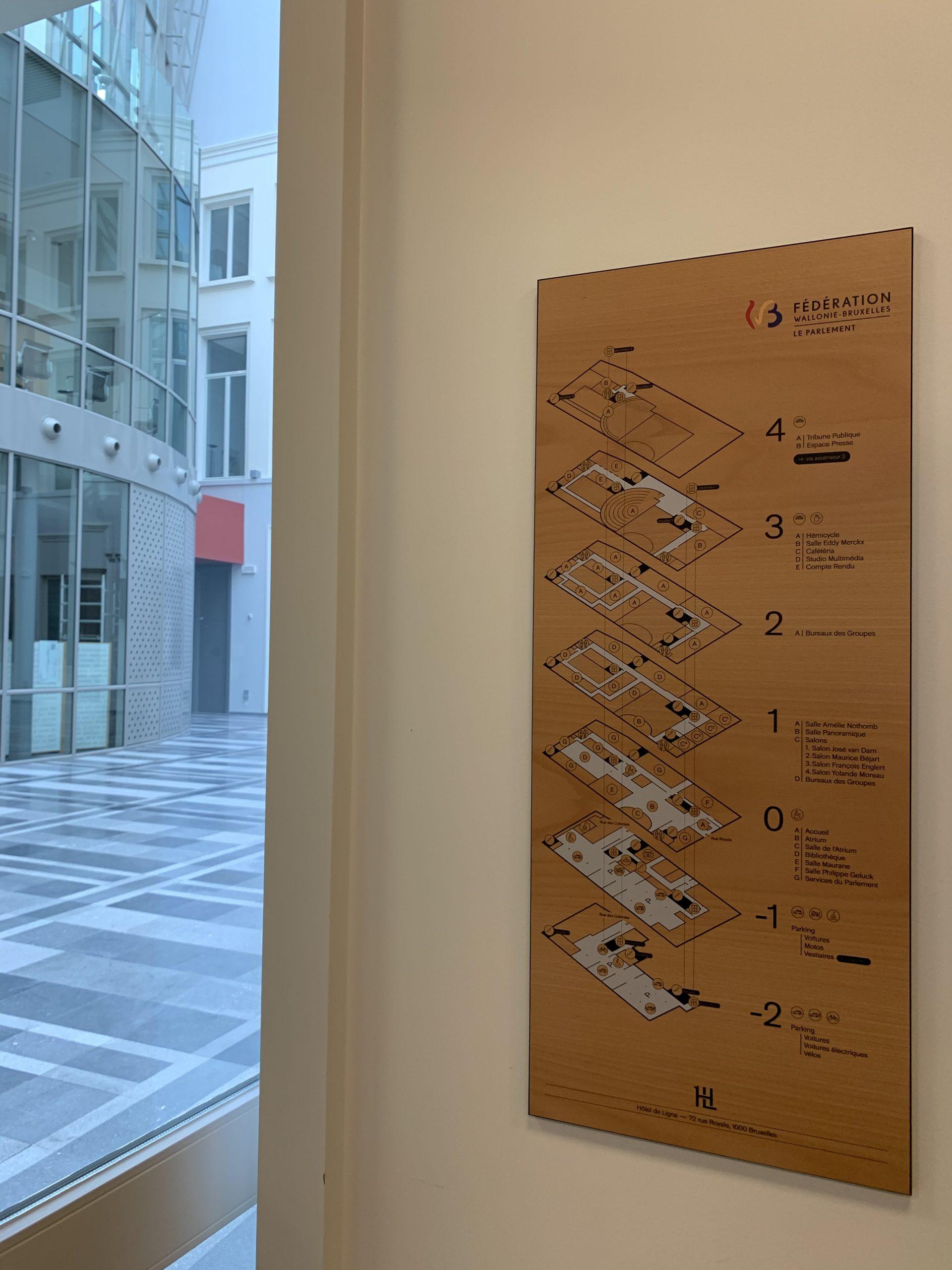 Wayfinding – overzichtsbord interne signalisatie met verschillende verdiepingen in de huisstijl by actual sign member of the remotec group